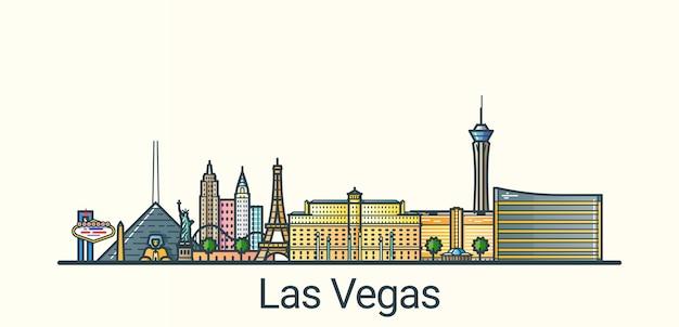 Banner da cidade de las vegas em estilo moderno de linha plana. todos os edifícios separados e personalizáveis. arte de linha.