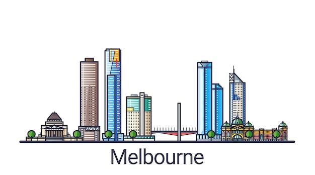 Banner da cidade de melbourne em estilo moderno de linha plana. arte de linha da cidade de melbourne. todos os edifícios separados e personalizáveis.