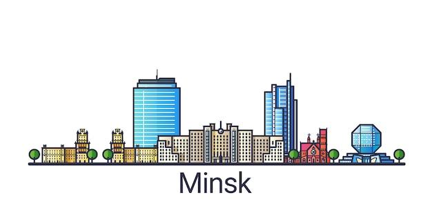 Banner da cidade de minsk em estilo moderno de linha plana. arte de linha da cidade de minsk. todos os edifícios separados e personalizáveis.