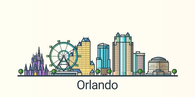 Banner da cidade de orlando em estilo moderno de linha plana. arte de linha da cidade de orlando. todos os edifícios separados e personalizáveis.