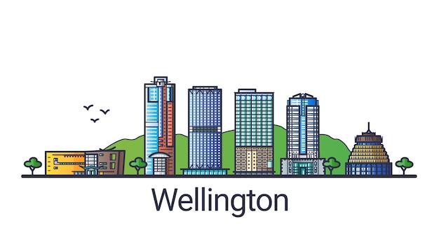 Banner da cidade de wellington em estilo moderno de linha plana. arte de linha da cidade de wellington. todos os edifícios separados e personalizáveis.