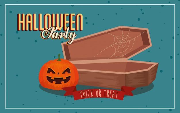 Banner da festa de halloween com abóbora e caixão