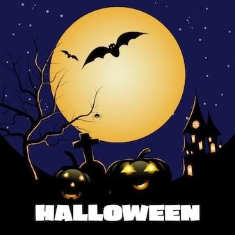 Banner da festa de halloween, lua cheia, casa assombrada, abóboras e morcegos.