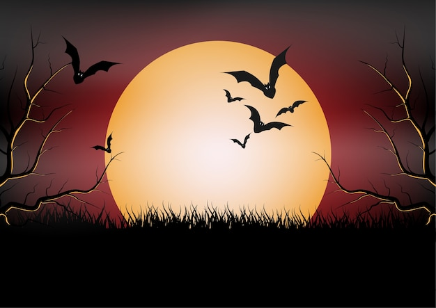 Banner da festa de halloween, lua cheia e morcego à noite. feriado