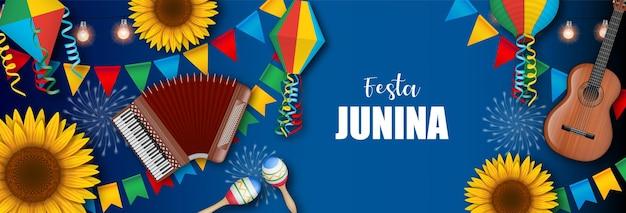 Banner da festa junina com balões com bandeirolas coloridas