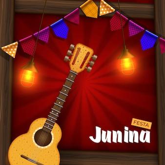 Banner da festa junina com luzes e lanterna de papel
