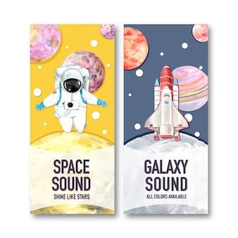 Banner da galáxia com astronauta, planeta, ilustração em aquarela de foguete.
