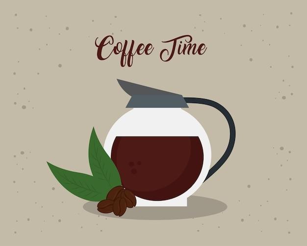 Banner da hora do café com desenho de ilustração de bule de vidro