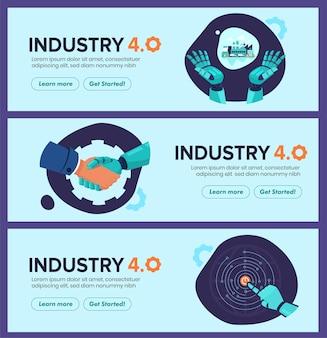 Banner da indústria 4.0 com braço robótico.