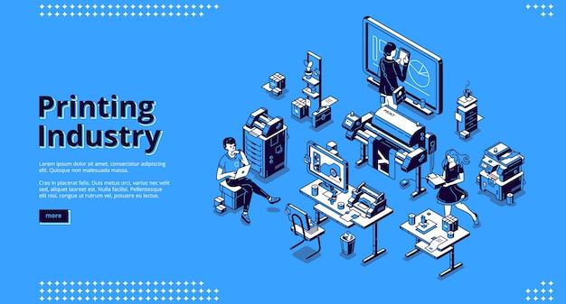 Banner da indústria de impressão. negócio de tipografia, serviço de poligrafia.
