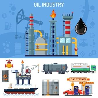 Banner da indústria de petróleo com produção de extração de ícones plana e transporte de petróleo e gasolina com petroleiro, equipamento e barris. ilustração isolada do vetor.