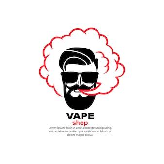 Banner da loja vape. cigarro eletrônico. cigarro eletrônico. fumando. vetor em fundo branco isolado. eps 10.