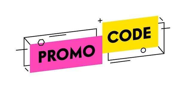 Banner da moda com código promocional de design simples, pôster promocional, cupom ou voucher de oferta. certificado promocode elemento gráfico de marketing digital isolado no fundo branco. ilustração vetorial linear
