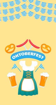 Banner da oktoberfest. vestido dirndl para mulheres alemãs tradicionais. cerveja, pretzel, salsicha.