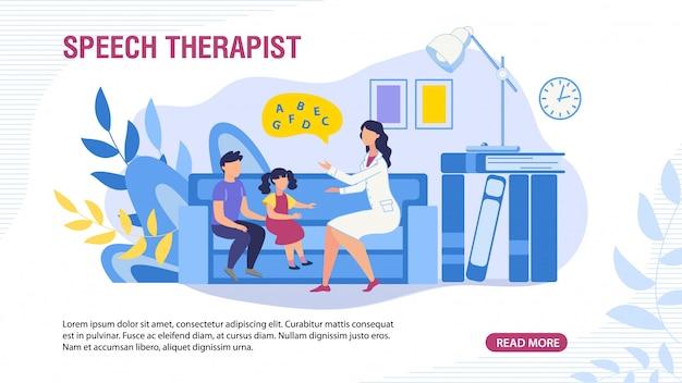 Banner da página da web com crianças e terapeuta da fala
