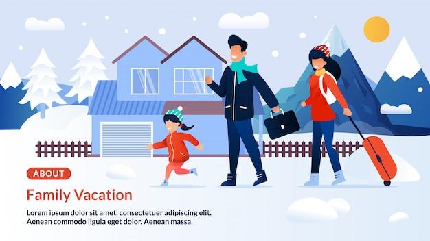 Banner da página da web convidando para férias de inverno em família