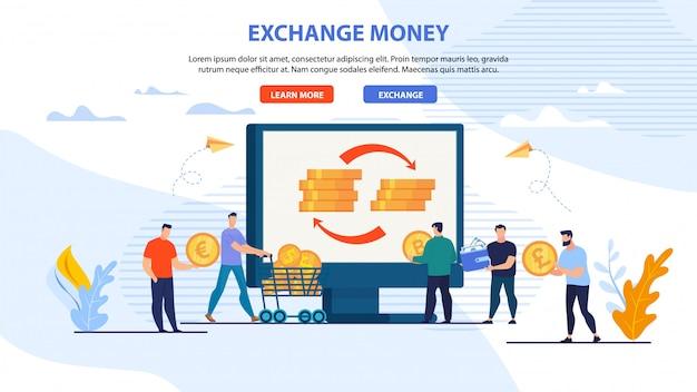 Banner da página da web para serviço de dinheiro do exchange online
