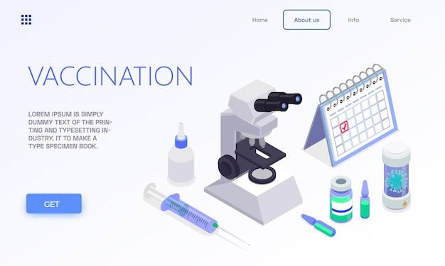 Banner da página de destino da web isométrica de vacinação