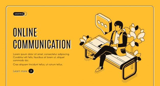 Banner da página de destino isométrica de comunicação on-line