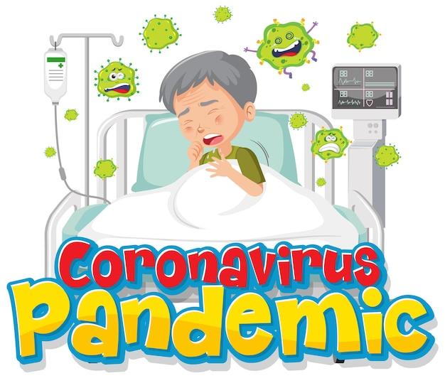 Banner da pandemia de coronavírus com o personagem de desenho animado de um paciente idoso