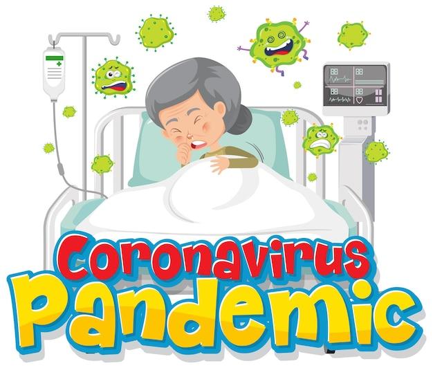 Banner da pandemia de coronavírus com personagem de desenho animado de uma paciente idosa