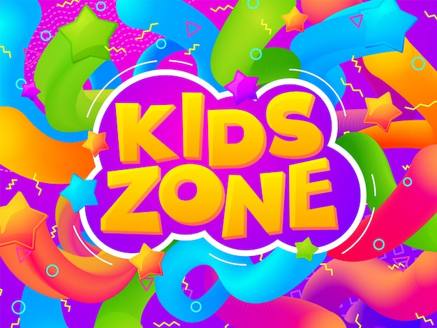 Banner da sala de jogos. zona de jogos de criança, cartaz de quarto de crianças engraçadas dos desenhos animados. tipografia colorida para playground ou jardim de infância de fundo vector. infância de jogo de zona, playground para ilustração infantil