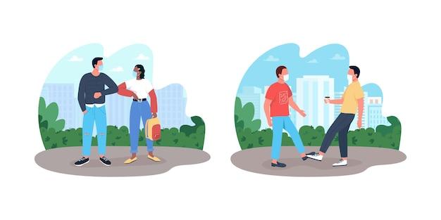 Banner da web 2d de comunicação da covid, conjunto de pôsteres