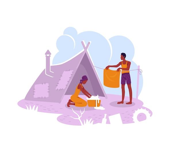 Banner da web 2d do campo de refugiados, pôster. personagens planos de abrigo temporário de migrantes ilegais no fundo dos desenhos animados. família pobre em tenda remendo para impressão, elemento colorido da web