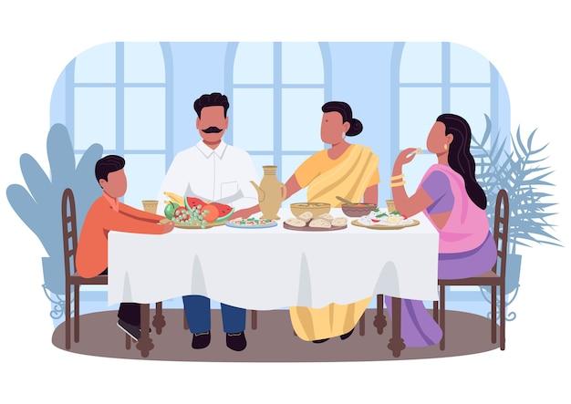 Banner da web 2d do jantar tradicional indiano, pôster. pais e filhos à mesa com comida. personagens planas da família asiática no fundo dos desenhos animados. patch para impressão de costumes culturais, elemento colorido da web