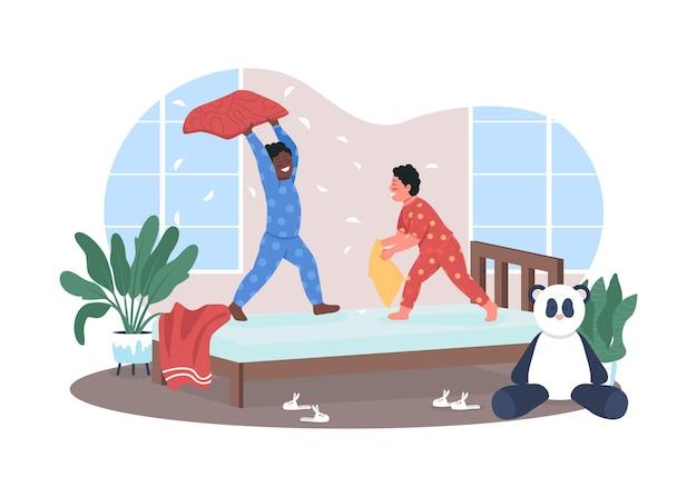 Banner da web 2d para luta de travesseiros no jardim de infância