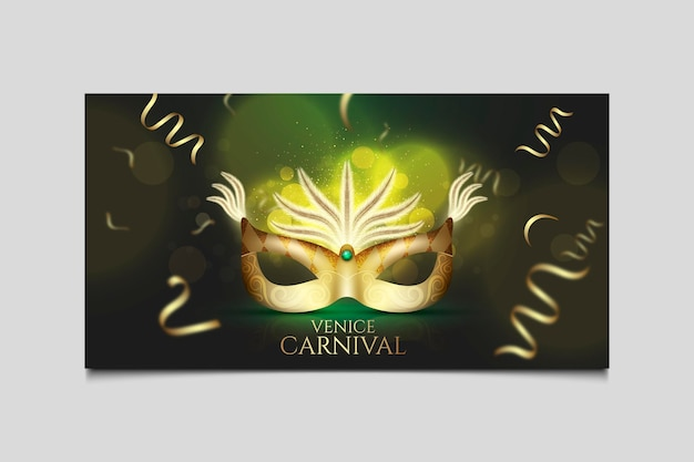 Banner da web com máscara de néon verde para carnaval veneziano