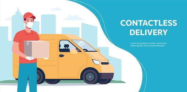 Banner da web com serviço de entrega sem contato em uma van