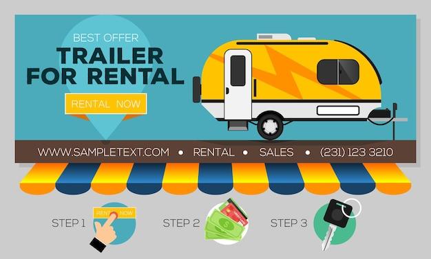 Banner da web com trailer de camping para venda ou aluguel caravan mobil home