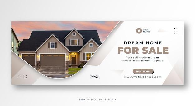 Banner da web da capa do facebook para venda de imóveis
