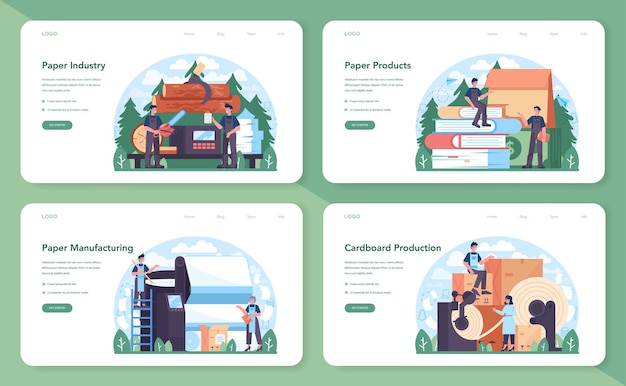Banner da web da indústria de papel ou conjunto de páginas de destino. processamento de madeira e papel