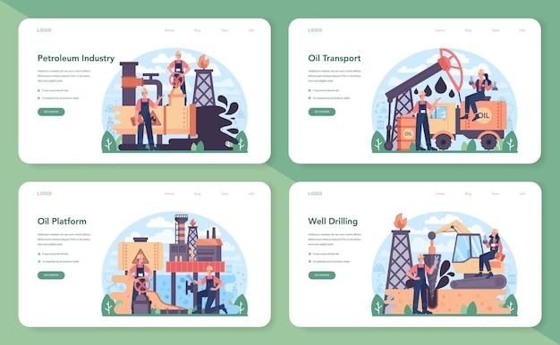 Banner da web da indústria de petróleo ou conjunto de páginas de destino. plataforma pumpjack