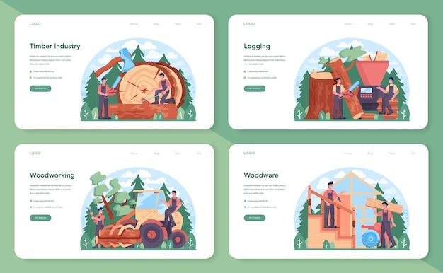 Banner da web da indústria madeireira e produção de madeira ou conjunto de páginas de destino. exploração madeireira