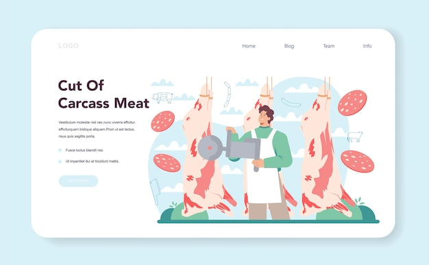Banner da web de açougueiro ou açougueiro ou cortes na página de destino da carne da carcaça