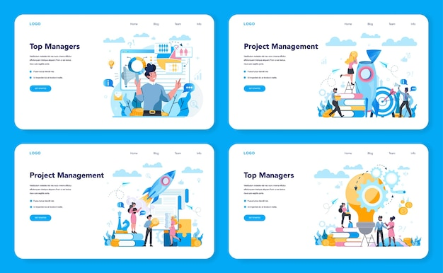 Banner da web de alta gestão empresarial ou conjunto de páginas de destino