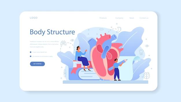 Banner da web de assunto escolar de anatomia ou página inicial.