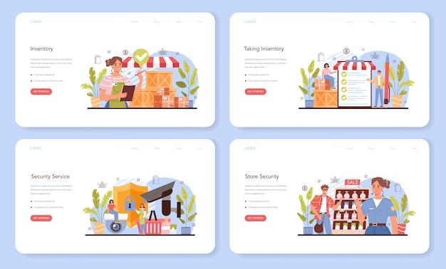 Banner da web de atividades comerciais ou conjunto de páginas de destino. avaliação do empreendedor