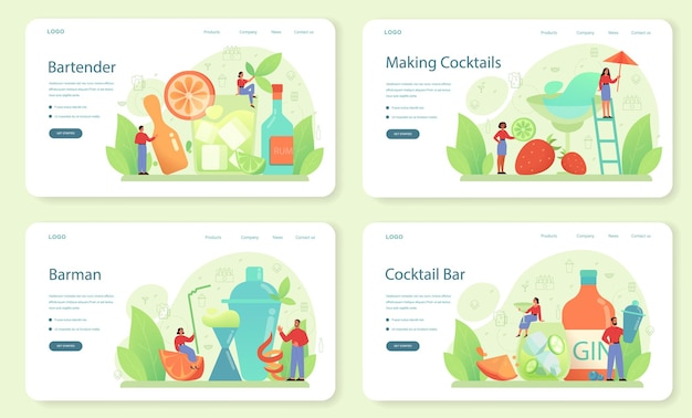 Banner da web de barman ou conjunto de página de destino