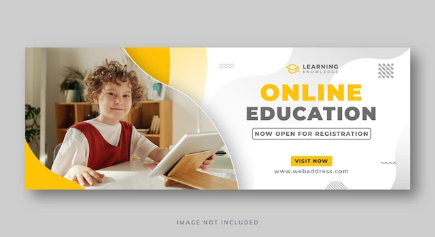 Banner da web de capa de mídia social educacional on-line