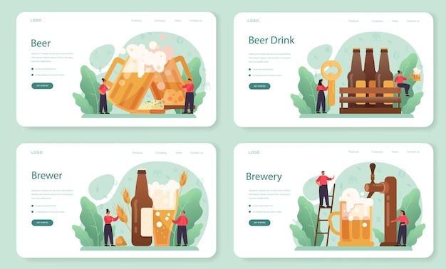 Banner da web de cerveja ou conjunto de página de destino