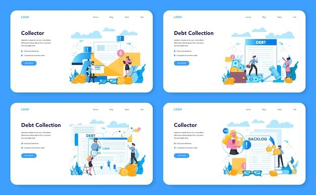 Banner da web de cobrador de dívidas ou conjunto de páginas de destino