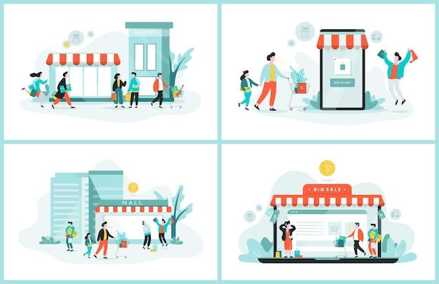 Banner da web de compras online. conceito de atendimento ao cliente