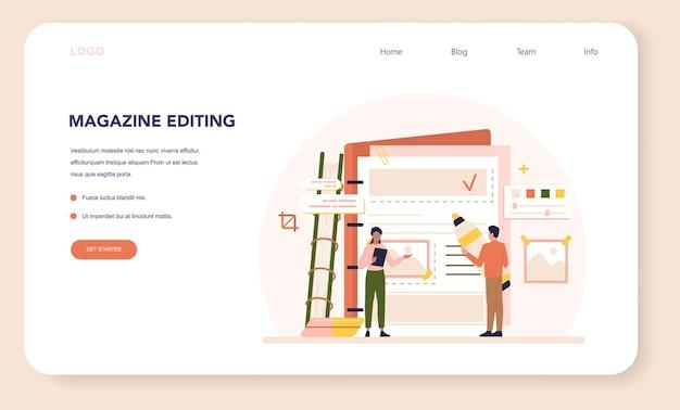 Banner da web de conceito de editor de revista ou página inicial