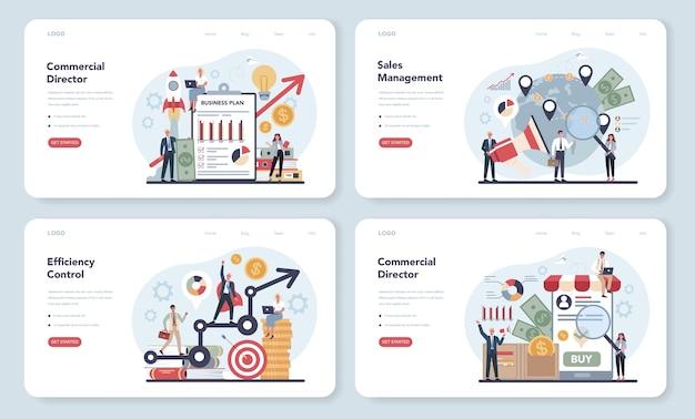 Banner da web de conceito de gerente de vendas ou diretor comercial