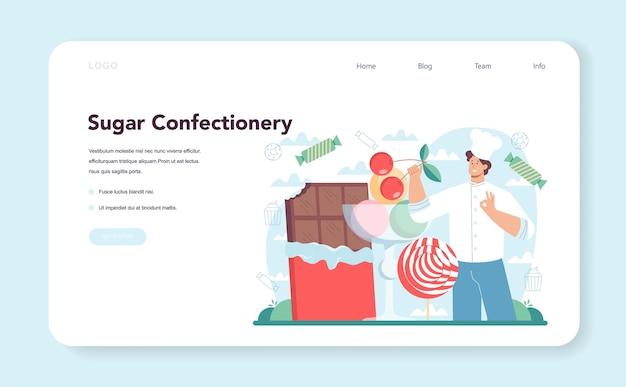 Banner da web de confeiteiro ou página de destino chef de confeitaria profissional