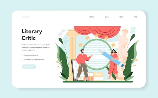 Banner da web de crítico profissional ou jornalista de página de destino fazendo revisão